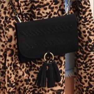 L&B black suede phone clutch crossbody bag NEW